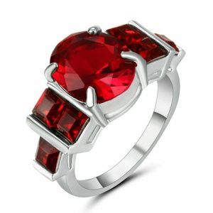 925 Silver Plated Ruby  Ring  New